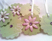 Sage Green Polka Dot Tags with Pink Flowers Set of Six