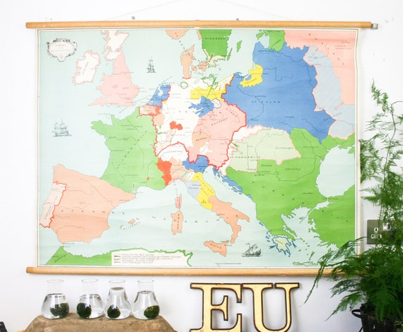 Vintage pull down map Dutch map of Europe 17th century genuine vintage school map