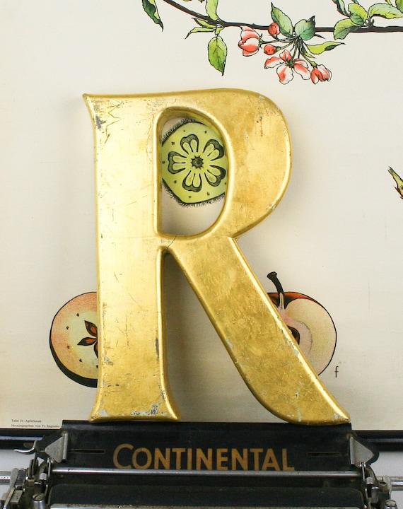 Vintage Shop front letter R pub sign, 24 carat gold leaf, shop front antique signage industrial