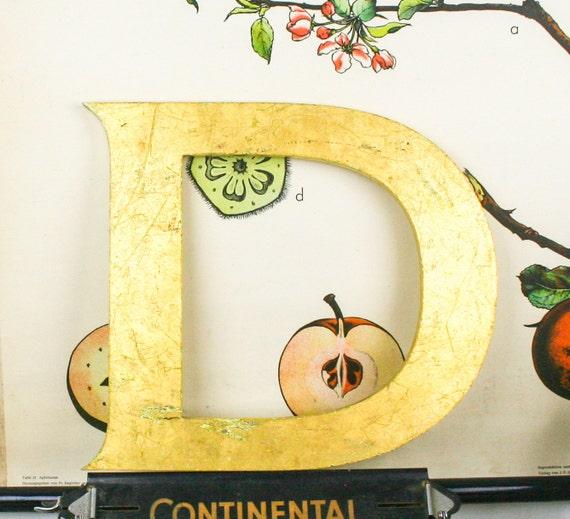 Shop front letter D pub sign, 24 carat gold leaf, shop front antique signage industrial