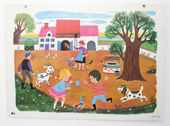 School chart, vintage french Daniel et Valerie 'feeding the chickens', wall print chldrens decor A01