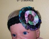 Black headband with handmade fabric flower  - 0 - 3 months
