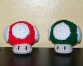 Mario Brothers Mushroom - Amigurumi - Red or Green