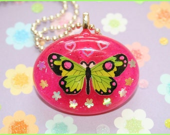 Green Butterfly - Resin Necklace