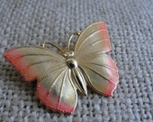 Vintage Butterfly Pin / Brooch Gold and Coral Costume Jewelry