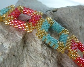 Bracelet in Tangerine, Aqua and Gold Seed Bead Squares