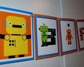 ROBOT Birthday Banner - blue and orange