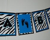 IT'S A BOY Banner - Blue & Black Zebra Baby Shower
