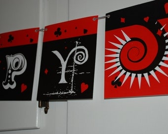 Casino Birthday Banner - Sleek red and black swirls