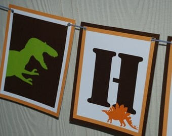 Dinosaur Birthday Banner - brown and orange dino