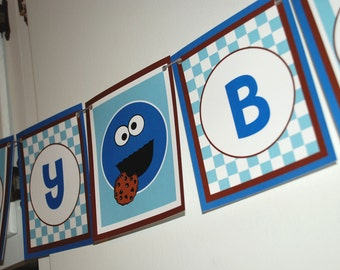 COOKIE MONSTER Birthday Banner - brown and blue