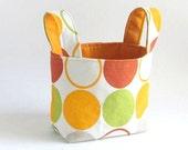 Easter  SALE ORANGE time - organizer storage bin fabric basket in orange green olive spots Free shipping MADE to order