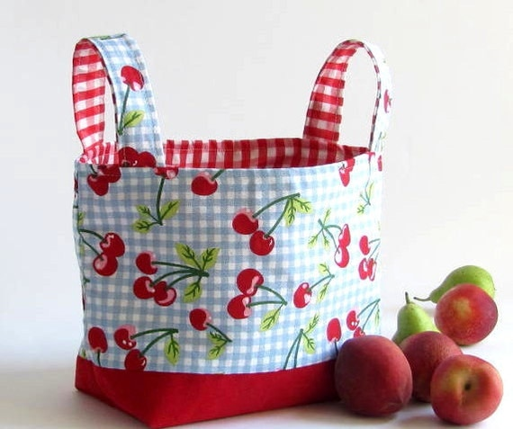 Last One Easter SALE CHERRY in red  fabric basket organizer storage bin made to order Free shipping
