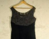 Ferman O'Grady vintage dress cut out lacework black velvet two piece bolero jacket lbd medium