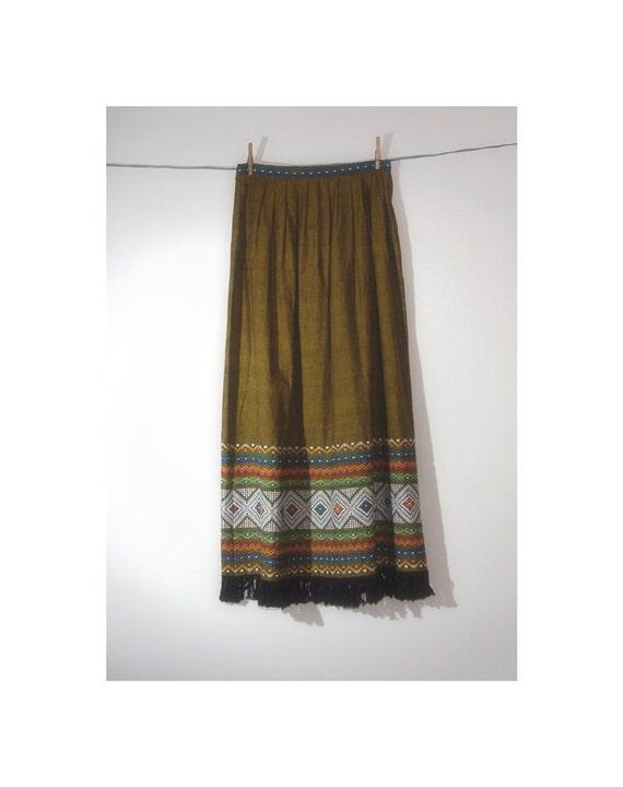 Vintage maxi skirt tribal olive gold womens fall skirt 1970s bohemian small medium