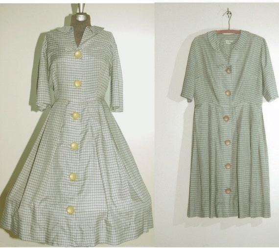 Vintage day dress green white check 1950s dress Wilshire of Boston large xlarge