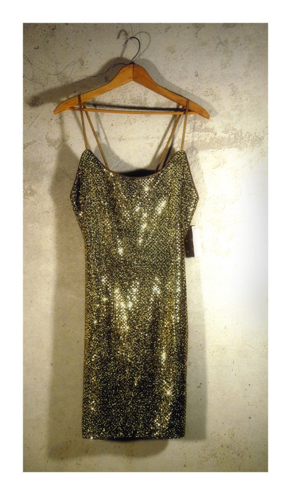 Vintage party dress sequin dress Dave & Johnny 1980s dead stock evening dress small