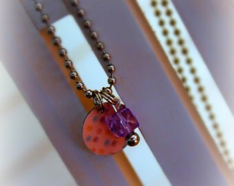 Charm Necklace, Pink and Purple Floral