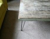 Island Barn coffee table XL industrial modern reclaimed wood with hairpin legs