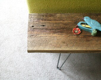 reclaimed wood bench with hairpin legs - reclaimed elemental modern industrial, midcentury modern
