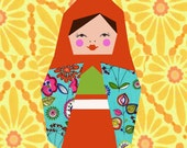 Matriochka quilt block, paper pieced quilt pattern, PDF pattern, instant download, Matryoshka pattern, doll quilt pattern