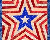 One Star Americana Patriotic Mini Quilt Pattern, easy quilt pattern, paper pieced quilt pattern, PDF pattern, instant download