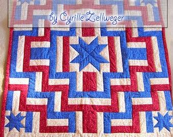 5 Stars Americana Patriotic Quilt Pattern PDF, easy