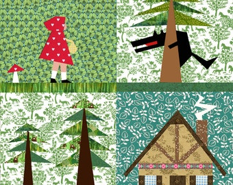 Little red Riding Hood quilt blocks, paper pieced quilt pattern PDF, instant download, Set of 4 paper pieced quilt block patterns PDF