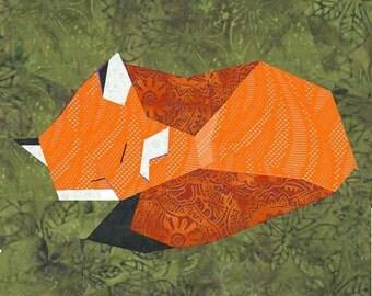 Fox quilt block, paper pieced quilt pattern, PDF pattern, instant download, Fox pattern PDF