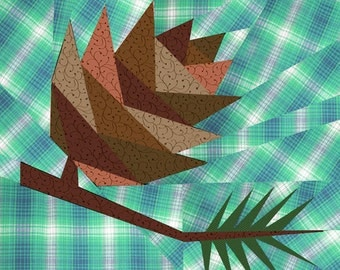 Pine Cone quilt block, paper pieced quilt pattern, PDF pattern, instant download, forest pattern, woodland pattern, Christmas pattern