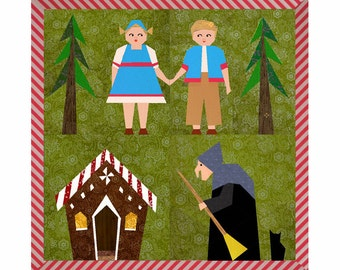 Hansel and Gretel Set of 4 paper pieced quilt block patterns PDF