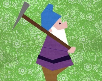 Dwarf with pickaxe quilt block, paper pieced quilt pattern, PDF pattern, instant download, gnome pattern