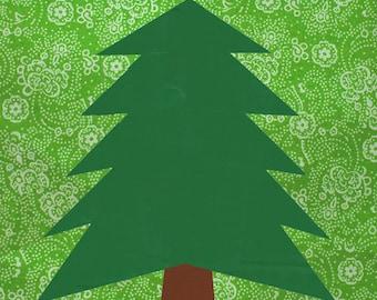Pine Tree quilt block, paper pieced quilt pattern, PDF pattern, instant download, forest pattern