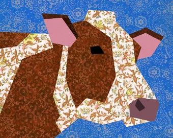 Cow quilt block, paper pieced quilt pattern, PDF pattern, instant download, cow pattern