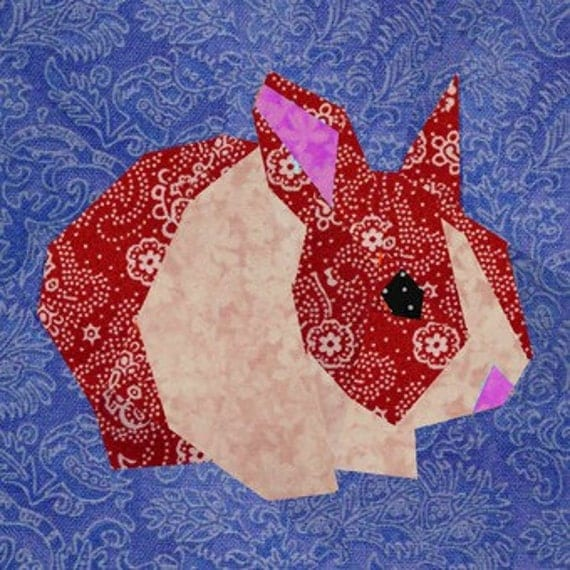 Rabbit quilt block, paper pieced quilt pattern, PDF pattern, instant download, bunny pattern, rabbit pattern