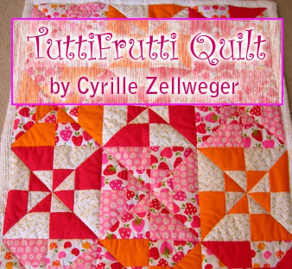 Easy Quilt Pattern PDF, Tutti Frutti, 2 sizes included