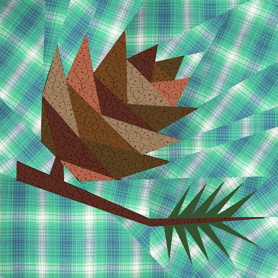 Pine Cone Quilt Block Paper Pieced Quilt Pattern Pdf