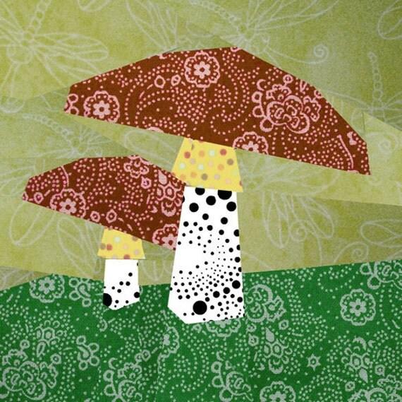 Mushroom Paper Pieced Quilt Block Pattern Pdf