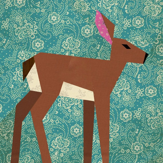 Deer quilt block paper pieced quilt pattern PDF pattern : paper piece quilt patterns - Adamdwight.com
