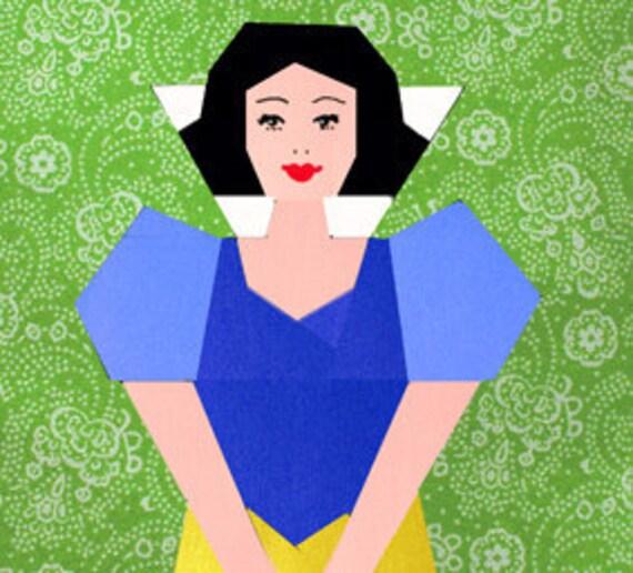 Snow White paper pieced quilt block pattern PDF