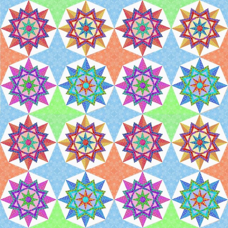 Sun Star Pieced Quilt Block Pattern Pdf By Bubblestitch On