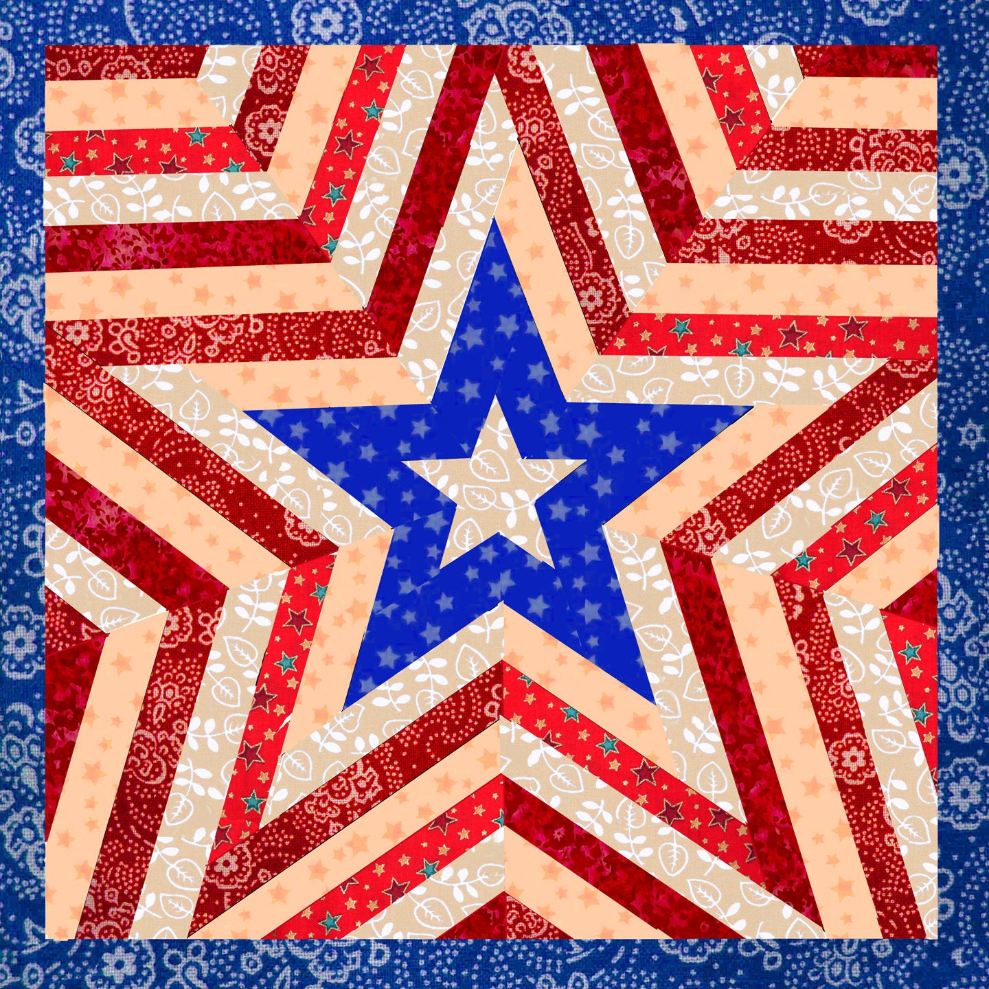 One Star Americana Patriotic Mini Quilt Pattern Easy Quilt