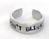 Don't Blink Dr. Who Inspired Ring - Narrow Aluminum Band, made to order - custom work available