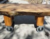 Sweetgum Slab Coffee Table on Cherry Legs & Industrial Casters