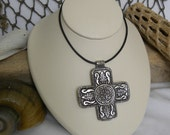 Silver Cross Pendant Black Leather Cord Necklace