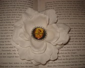 The Hunger Games Flower Hair Clip-White Rose With Flaming Mockingjay Center-4 Inches and Ready To Ship
