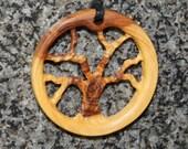 Olive Wood Pendant, wood jewelry, wood grain,Tree of Life