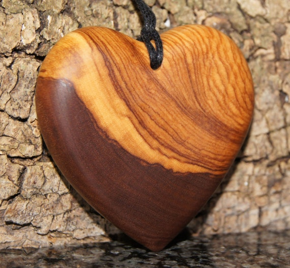 Olive Wood Pendant, wood jewelry,Heart