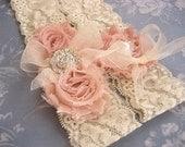 Vintage Bridal Garter Wedding Garter Set Toss Garter included Dusty Rose Ivory with Rhinestones and Pearls  Custom Wedding colors
