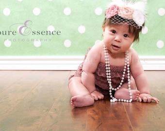 Baby Headband  Birthday Girl Vintage Shabby Rosette Frayed Vintage Colors Baby Hairband Clip Shabby Chic